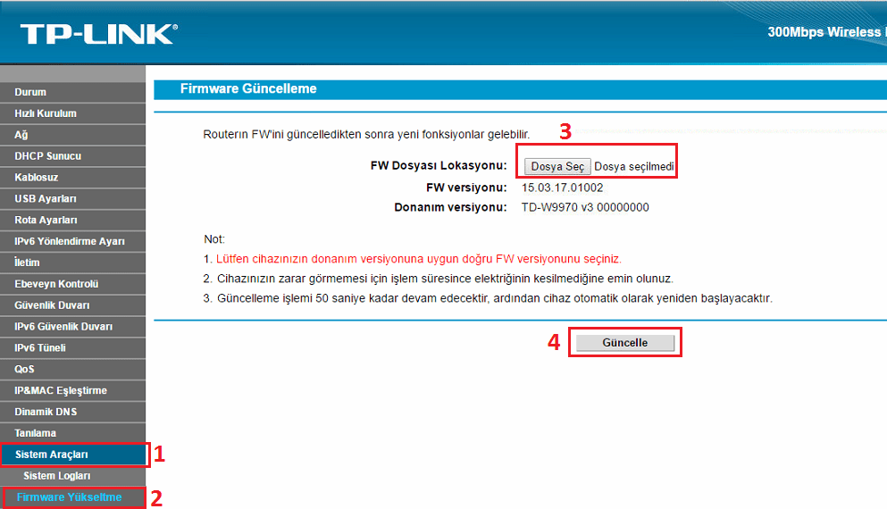 tp link td w9970 firmware güncelleme