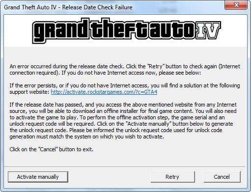 grand theft auto 4 manual activation not working