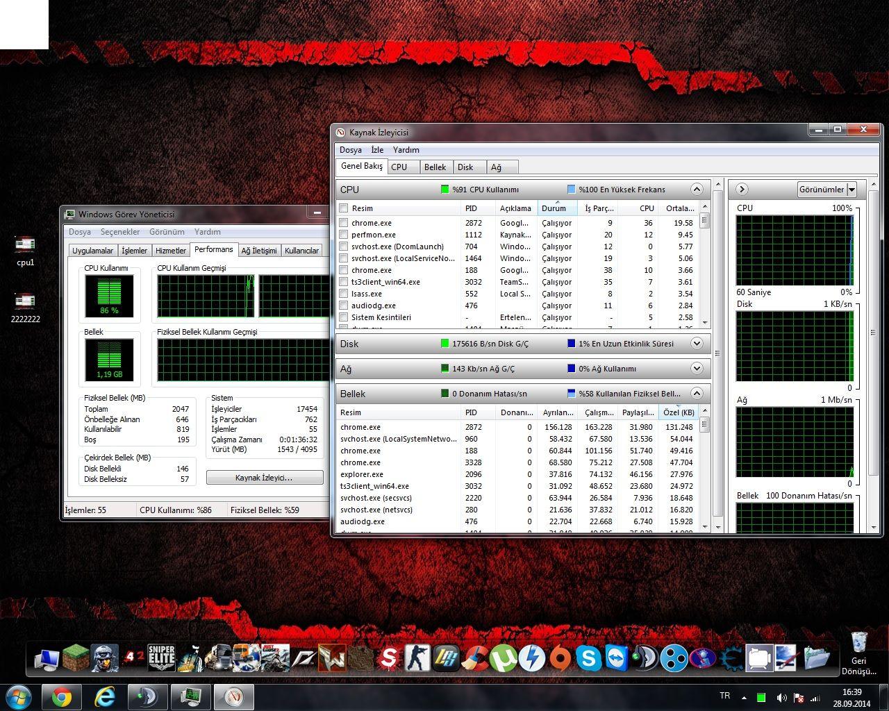 100 CPU kullanımı