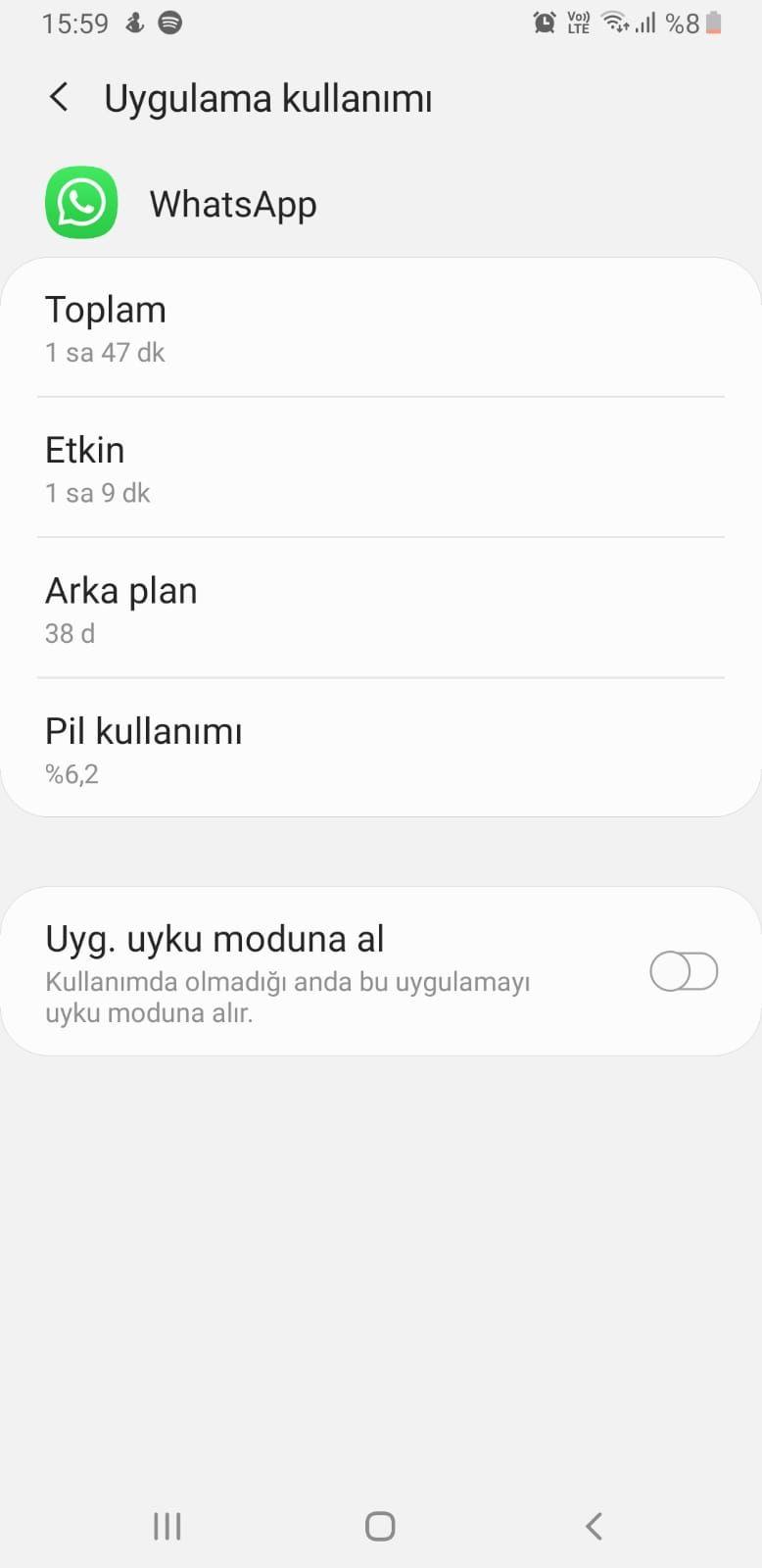 Samsung Uygulama Uyku Moduna Alma