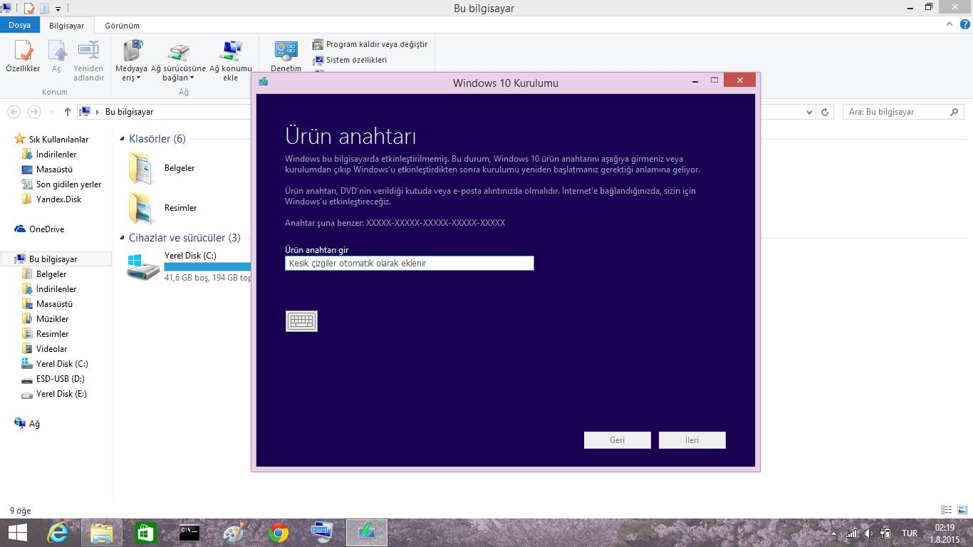 windows 8 ürün anahtarı etkinleştirme programı