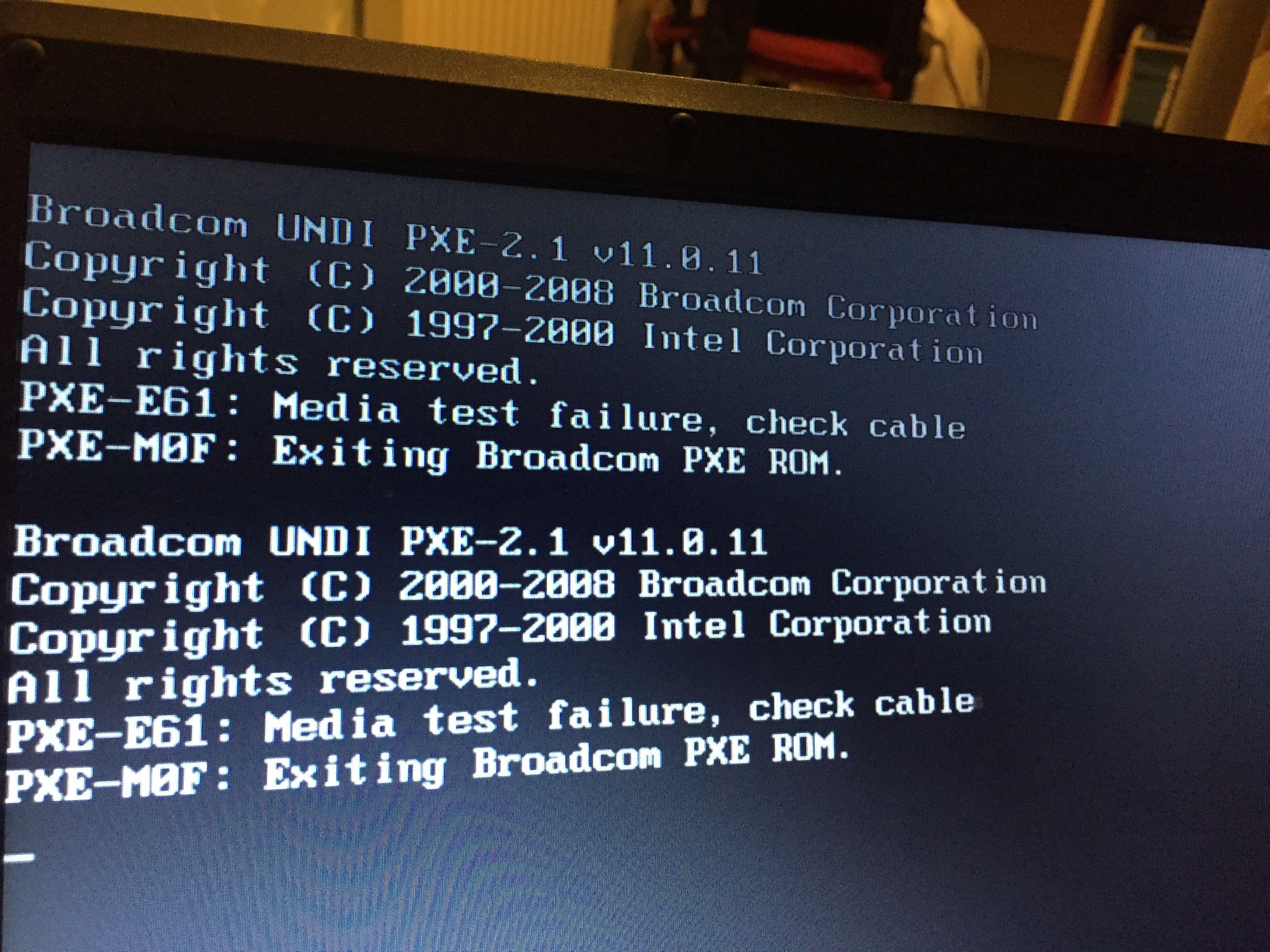 Pxe E61 Media Test Failure Check Cable Dell Inspiron N5110
