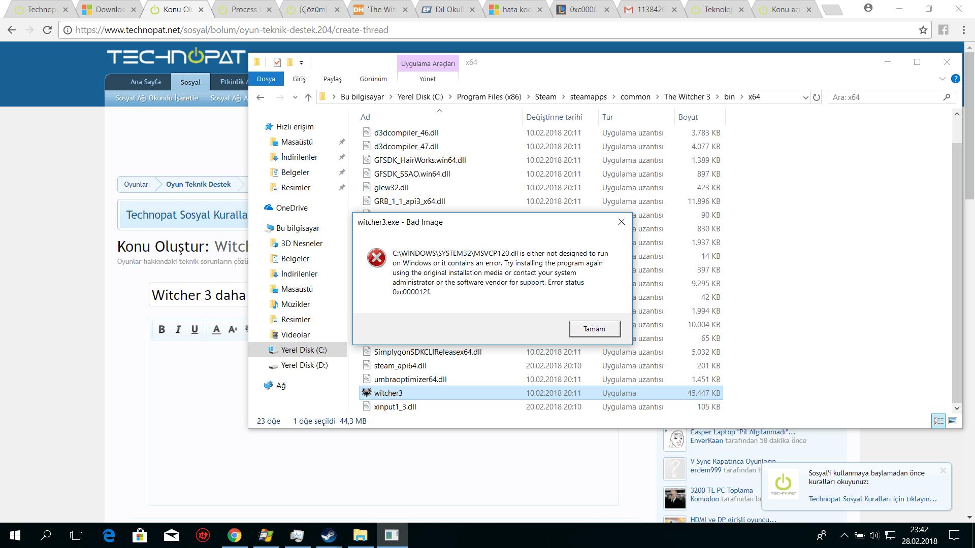 msvcp120 dll hatası