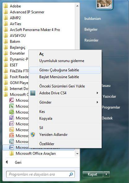 Windows Gezginini Yapılandır