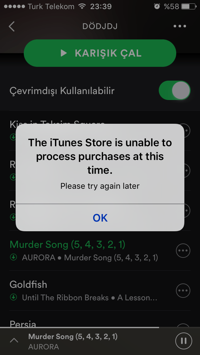 the itune store is unable to process purchase
