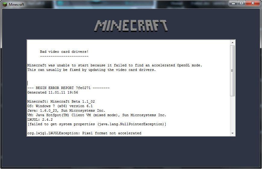 почему в minecraft выбивает bad video card drivers #2