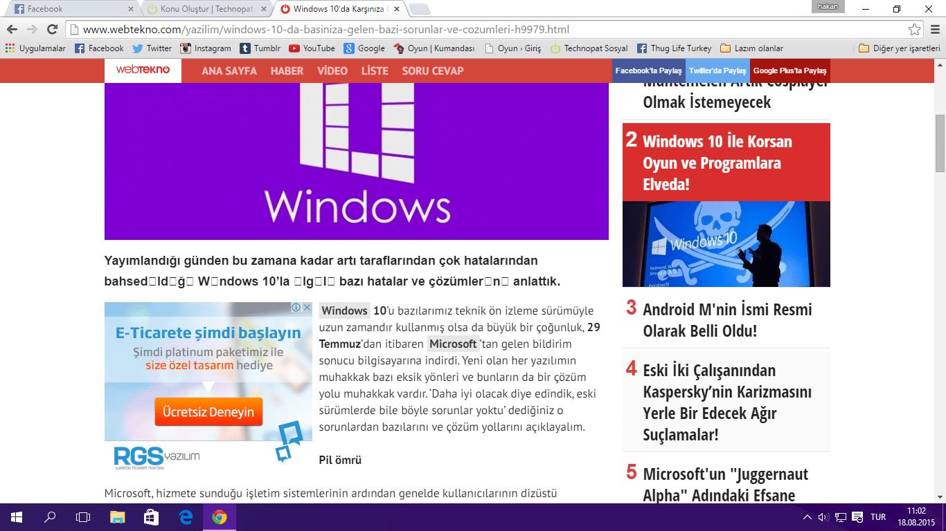 windows 10 chrome türkçe karakter sorunu