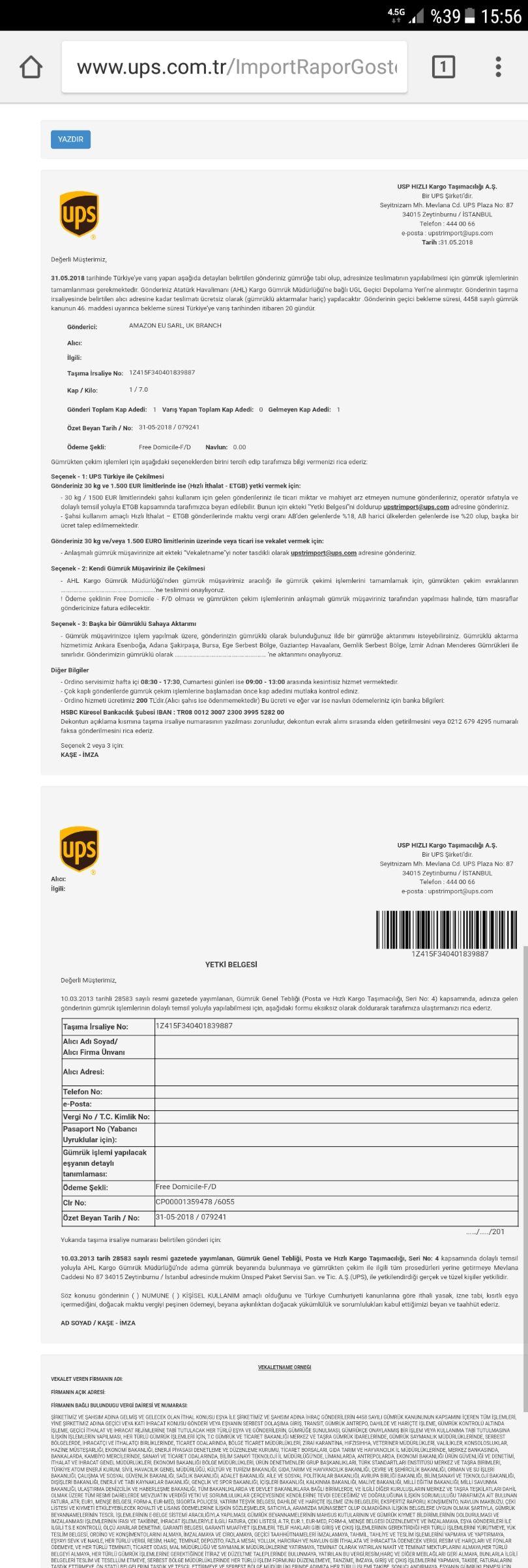 UPS Kargo Çalışma Saatleri 2018