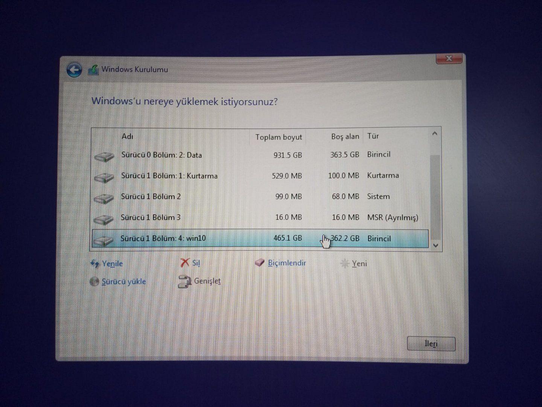 WindowsKurulumuDiskler.jpeg