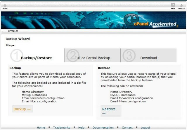 Cpanel Backup Seçenekleri