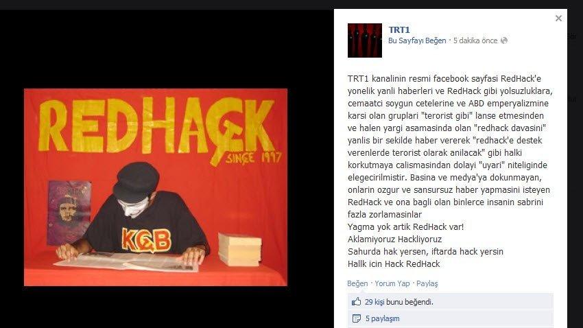 Redhack TRT1 Facebook sayfasını ele geçirerek bu mesajı yayınladı