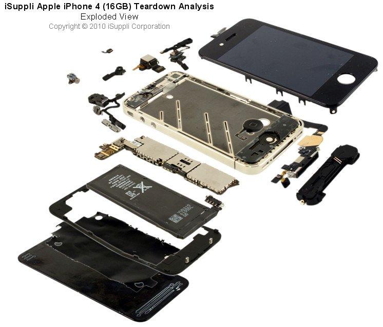 Apple iPhone 4'ün içi böyle, iPhone 5'te daha az ekran katmanı olacak