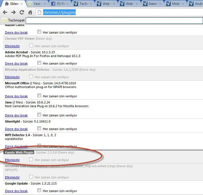 Chrome eklenti yönetimi: chrome://plugins/