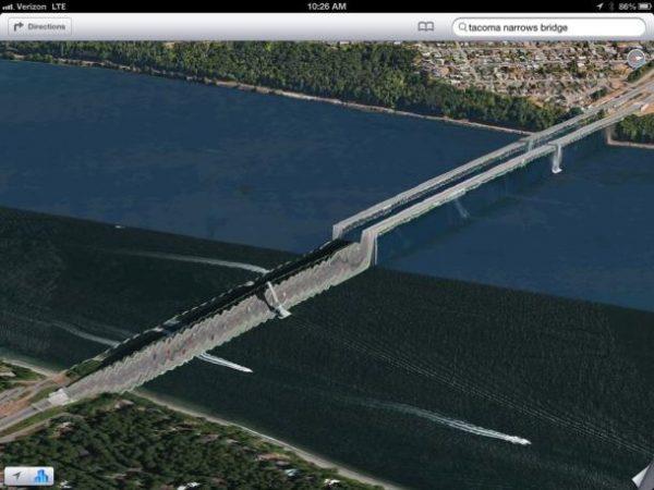 Apple Maps'e göre bu köprünün bir kısmı sular altında.