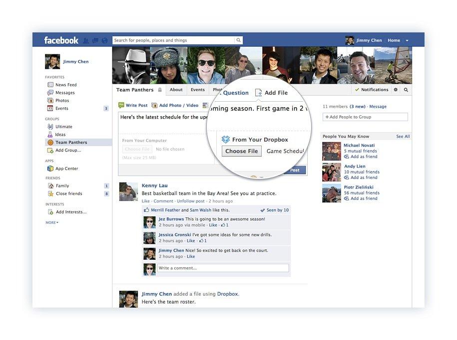 Facebook'a gelen Dropbox eklentisi ile kullanıcılar dosyalarının linkini paylaşabilecek.