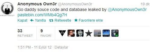 Own3r Tweetter'ından GoDaddy'nin servis kodlarını paylaştı.