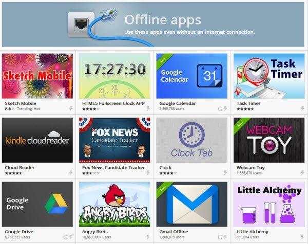 Chrome Web Store'da Offline olarak çalışan uygulamalardan bir kaçı.