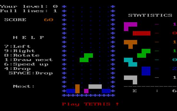 1986'da IBM Bilgisayarlar için hazırlanan Tetris oyunundan bir görüntü.