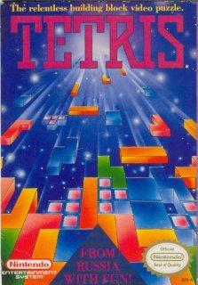 """NES için hazırlanan Tetris kapağı. Altta """"Rusya'dan Eğlence için Geldi"""" yazıyor."""