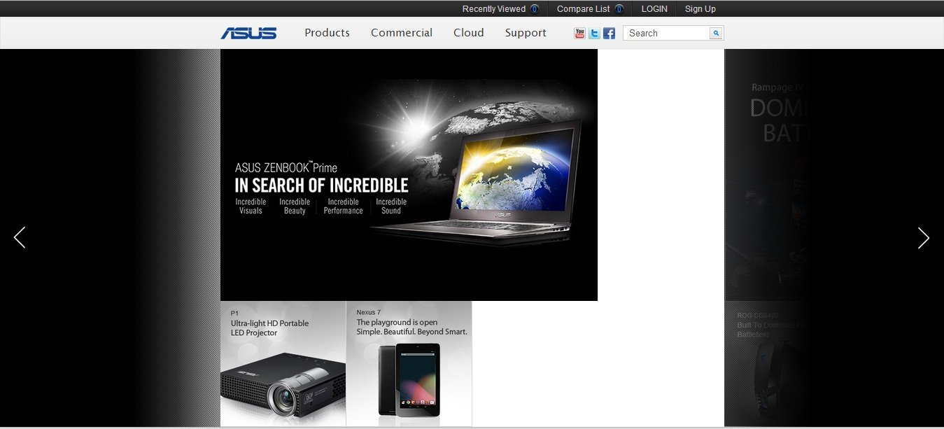 ASUS'un yeni internet sitesi