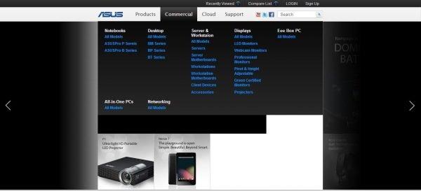 ASUS'un yeni sitesinde ticari kategori ayrı konumlandırılıyor