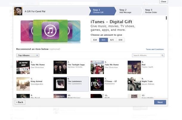 Facebook kullanıcıları iTunes üzerinden sevdiklerine hediyeler yollayabilecek.