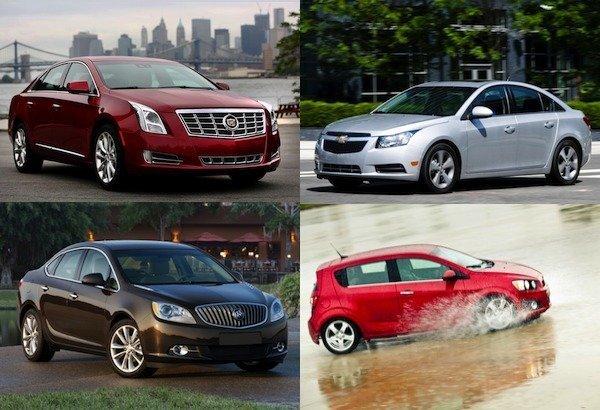 Saat yönüne göre sol üstten Cadillac XTS, Chevy Cruze, Chevy Sonic ve Buick Verano, General Motors tarafından geri çağrıldı.