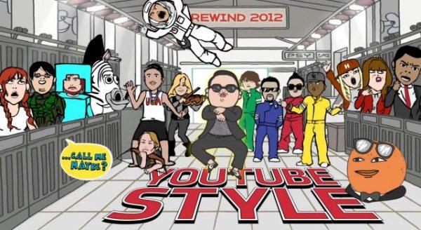 Youtube 2012 Rewind, videosunda birçok ünlü isim bulunuyor.