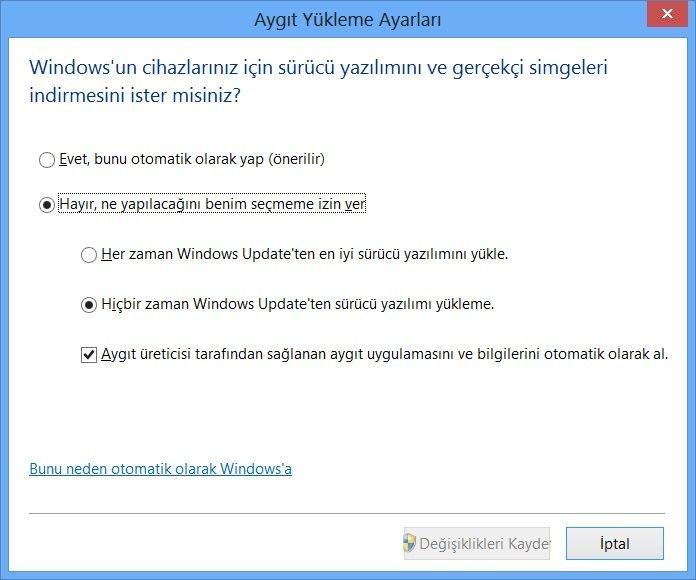 Windows 8 Aygıt Yükleme Ayarları