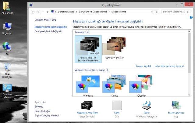 Windows 8 Masaüstü Simgelerini Görüntüleme