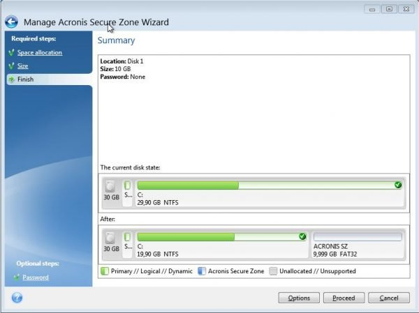 Acronis Secure Zone - Summary