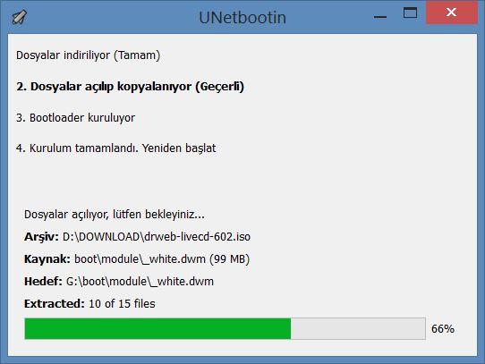 Unetbootin - Dosyalar açılıp kopyalanıyor