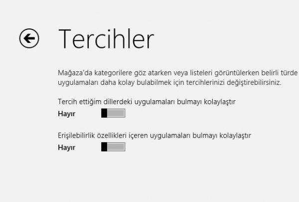 Windows 8 Mağaza Tercihler