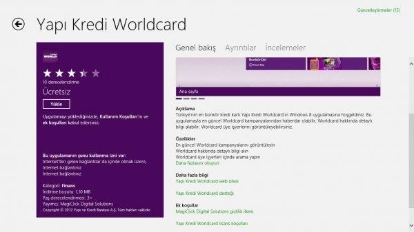 Yapı Kredi Bankası Windows 8 Worldcard Uygulaması