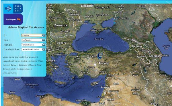 Türk Telekom Fiber Optik İnternet Haritası
