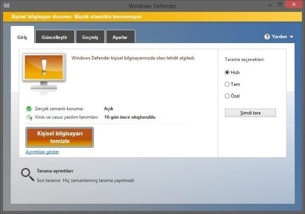 Windows Defender 600x422 Çözüm: Windows Defender Açılmıyor
