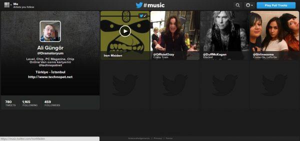 Twitter Music ile takip ettiğiniz Twitter hesaplarına göre öneriler alırsınız