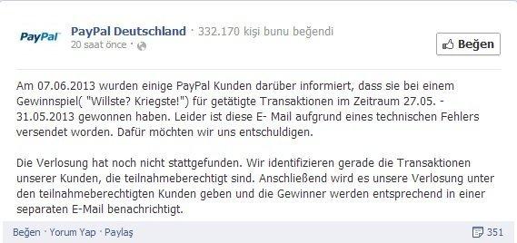 PayPal Almanya Facebook sayfası
