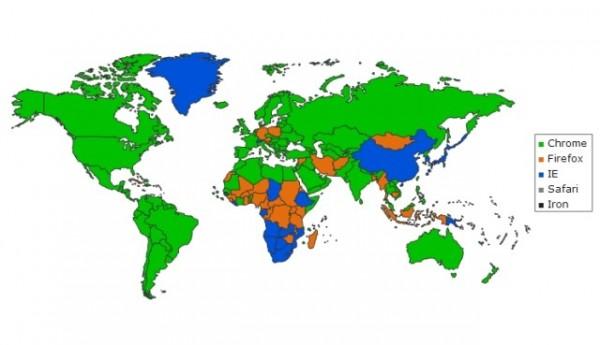 Tarayıcıların Dünya genelindeki kullanımı.