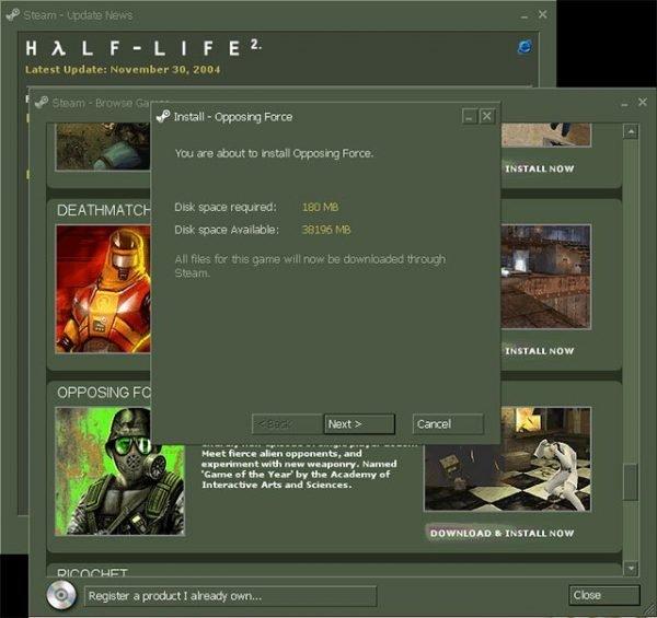 Steam'in eski arayüzünden bir görsel.