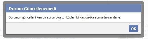 Facebook kullanıcılarının karşılaştığı Durum Güncellemesi Hatası