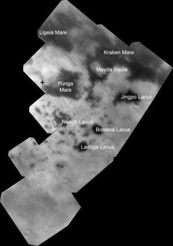 Titan yüzeyindeki ovalar ve göller.