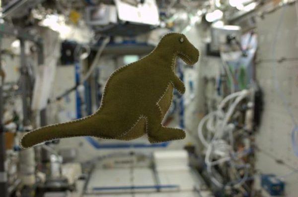 Uzayda yapılan ilk oyuncak yeşil bir dinazor oldu.