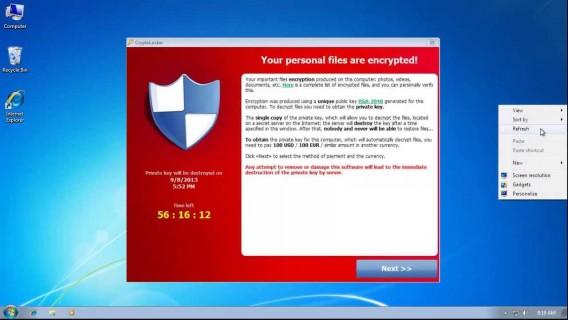 CryptoLocker bulaşan sistemlerde bu şekilde bir uyarı mesajı çıkıyor.