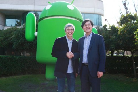Google CEO Larry Page ve Lenovo CEO Yang Yuanqing