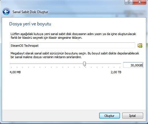 virtualbox sabit disk kapasite