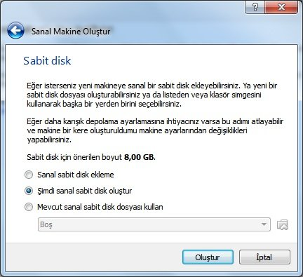 virtualbox sabit disk