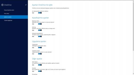 Bilgisayar ayarları OneDrive eşitleme ayarları