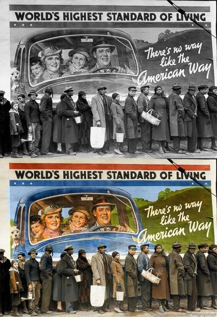 Arka tarafta Amerikan Hayat Kalitesi afişi, önde ekmek kuyruğu.