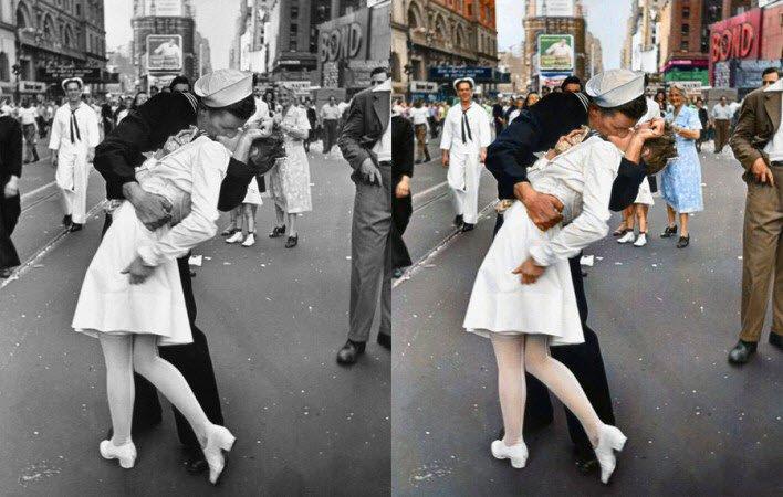 Savaşa Elveda öpücüğü, 2. Dünya Savaşı bitmiş ve eve dönen denizci, hemşireyi öpüyor - 14 Ağustos 1945